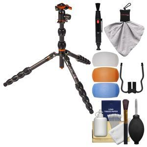 3 Legged Thing Eclipse Leo Carbon Fiber Tripod with AirHed Switch (Grey) with Flash Diffusers + Cleaning Kit