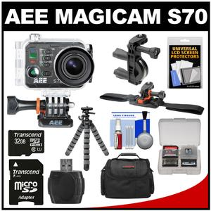 AEE Magicam S70 Wi-Fi Waterproof 1080p HD Video Camera Camcorder with Handlebar Bike & Vented Helmet Mounts + 32GB Card + Tripod + Case + Kit
