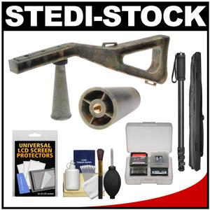 Stedi-Stock Shoulder Brace Stabilizer for Cameras Camcorders and Scopes with QR-Camo-with Monopod and Accessory Kit