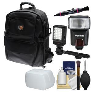 Aktiv Pak AP400 Digital SLR Camera Backpack Case (Black) with Flash + Diffuser + Video Light + Kit