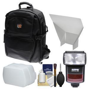 Aktiv Pak AP400 Digital SLR Camera Backpack Case (Black) with Sunpak E-TTL Flash for Canon EOS DSLR Cameras + Diffuser + Reflector + Kit