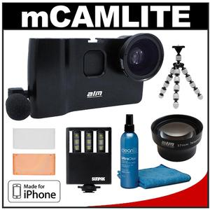 ALM mCAMLITE Stabilizer Mount with Video Lens & Mic for iPhone 5 (Black) with Telephoto Lens + LED Video Light + Flex Tripod + Accessory Kit
