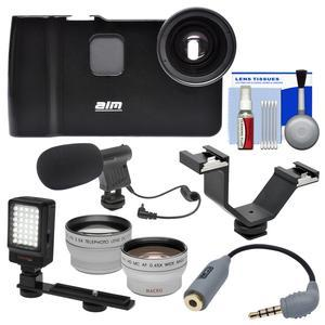 ALM mCAMLITE Stabilizer Mount with Video Lens for iPhone 7 with Wide Angle and Telephoto Lenses and Video Light and Microphone and Bracket and Kit