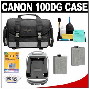 Canon 100DG Digital SLR Camera Case - Gadget Bag with (2) LP-E5 Batteries & Charger + Accessory Kit