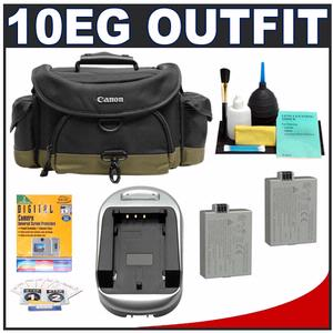 Canon 10EG Deluxe Digital SLR Camera Case - Gadget Bag with (2) LP-E5 Batteries & Charger + Accessory Kit