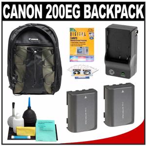 Canon 200EG Deluxe Digital SLR Camera Backpack Case with (2) NB-2LH Batteries & Charger + Accessory Kit