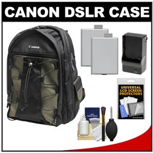 Canon 200EG Deluxe Digital SLR Camera Backpack Case with-2-LP-E5 Batteries and Charger and Accessory Kit