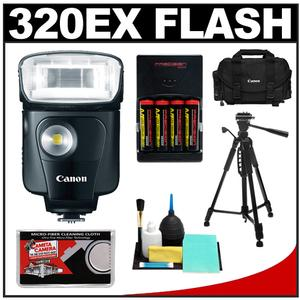 Canon Speedlite 320EX Flash with LED Light with 2400 Case + Tripod + (4) Batteries & Charger + Cleaning Kit