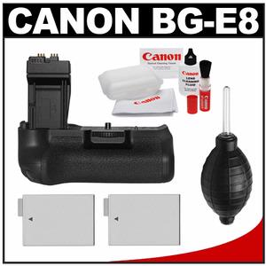Canon BG-E8 Battery Grip for EOS Rebel T2i  T3i & T4i Digital SLR Camera with 2 LP-E8 Batteries + Optical Cleaning Kit