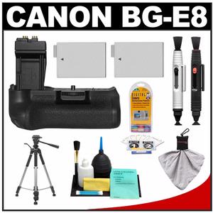 Canon BG-E8 Battery Grip for EOS Rebel T2i  T3i & T4i Digital SLR Camera with 2 LP-E8 Batteries + Tripod + Accessory Kit