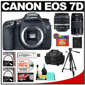 Canon EOS 7D Digital SLR Camera Body and Canon 18 55mm Lens and Canon 75 300mm III Lens with 16GB Card Tripod Canon 2400 DSLR Case Accessory Kit