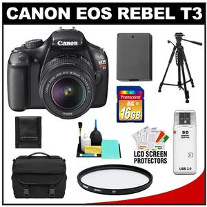 Canon EOS Rebel T3 Digital SLR Camera Body and EF-S 18-55mm IS II Lens with 16GB Card and Battery and Case and Filter and Tripod and Cleaning and Accessory Kit