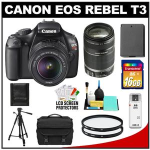 Canon EOS Rebel T3 Camera Body + EF-S 18-55 IS II Lens + 55-250 IS Lens + 16GB Card + Battery + Case + 2 Filters + Tripod + Clean Kit at Sears.com