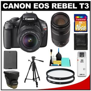 Canon EOS Rebel T3 Camera + EF-S 18-55 IS II Lens + 75-300 III Lens + 16GB Card + Battery + Case + 2 Filters + Tripod + Clean Kit at Sears.com