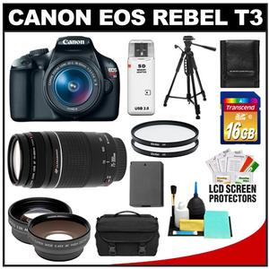 Canon EOS Rebel T3 Camera + EF-S 18-55 IS II Lens + 75-300 III Lens + 16GB Card + Wide + Tele Lenses + Battery + Filters + Tripod Kit at Sears.com