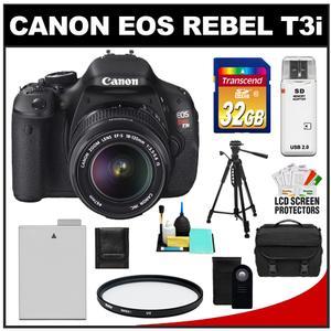Canon EOS Rebel T3i Camera Body + EF-S 18-135 IS Lens + 32GB Card + Battery + Case + Filter + Remote + Tripod + Cleaning + Acc Kit at Sears.com