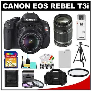 Canon EOS Rebel T3i Digital SLR Camera Body & EF-S 18-55mm IS II Lens with 55-250mm IS Lens + 32GB Card + Battery + Case + Filter Set + Tripod + Cleaning Kit