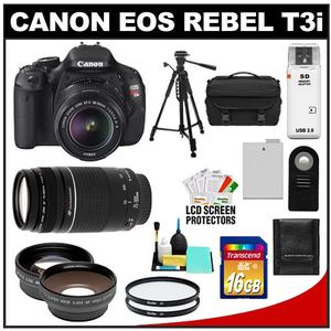 Canon EOS Rebel T3i Digital SLR Camera Body &amp; EF-S 18-55mm IS II Lens + 75-300mm III Lens + 16GB Card + Wide/Tele Lens + Battery + Remote + Filters + Tripod Kit
