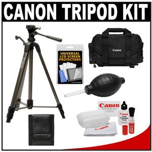 "Canon 62"" Deluxe Photo/Video 300 Tripod with 3-Way Panhead & Case with Canon 2400 Case + Camera and Lens Cleaning + Accessory Kit"