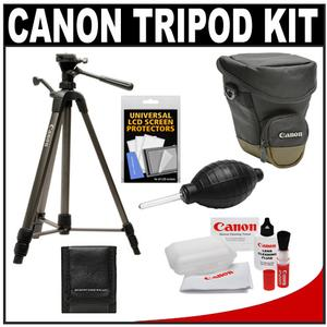 "Canon 62"" Deluxe Photo/Video 300 Tripod with 3-Way Panhead & Case with Canon 1000 Zoom Pack Holster Case + Camera and Lens Cleaning + Accessory Kit"