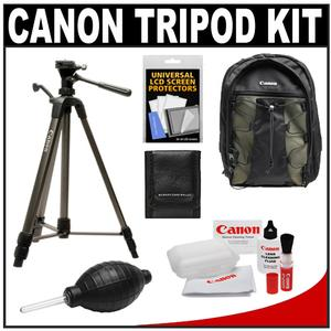 "Canon 62"" Deluxe Photo/Video 300 Tripod with 3-Way Panhead & Case with Canon 200EG Backpack Case + Camera and Lens Cleaning + Accessory Kit"