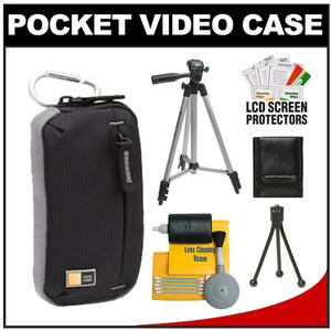 Case Logic TBC-312 Compact Pocket Video Camera Camcorder Case (Black) with Tripod + Accessory Cleaning Kit