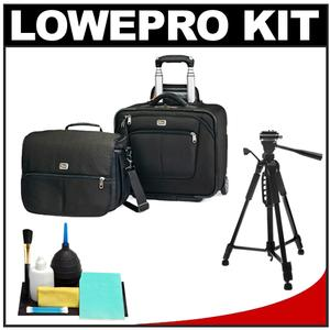 Lowepro Pro Roller Attache x50 Digital SLR Camera Bag/Case with Wheels (Black) with Tripod + Accessory Kit