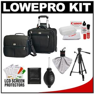 Lowepro Pro Roller Attache x50 Digital SLR Camera Bag/Case with Wheels (Black) with Deluxe Photo/Video Tripod + Canon Cleaning Kit