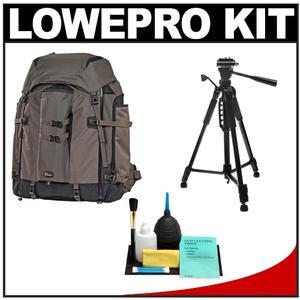 Lowepro Pro Trekker 600 AW Digital SLR Camera Backpack Case (Black/Mica) with Deluxe Photo/Video Tripod + Accessory Kit