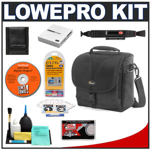 Lowepro Rezo 170 AW Digital SLR Camera Bag/Case (Black) with Reader + Cleaning Kit + LCD Protectors + Accessory Kit