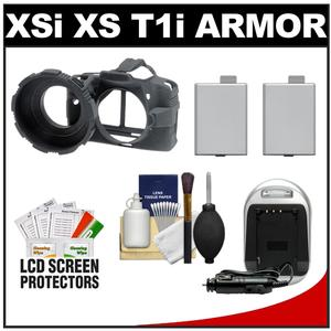 MADE Rubberized Camera Armor Case for Canon Rebel XSi  XS & T1i (Black) with (2) LP-E5 Batteries & Charger + Accessory Kit