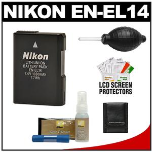Nikon EN-EL14 Battery & Nikon Lens Cleaner Kit for Coolpix P7000 & D3100