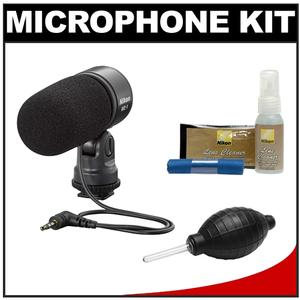 Nikon ME-1 Stereo Microphone for D4s D610 D750 D810 D7100 D3200 D3300 D5300 V3 Supplied with Wind Screen and Soft Case and Nikon Cleaning Kit