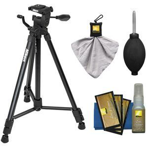 Nikon 60 inch Full Size Tripod with 3-Way Panhead (Black) with Nikon Camera and Lens Cleaning Kit