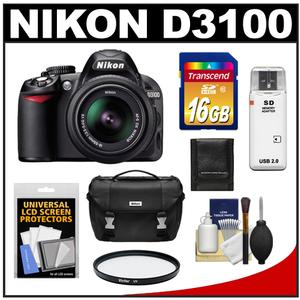 Nikon D3100 Digital SLR Camera & 18-55mm VR Lens with 16GB Card + Filter + Case + Accessory Kit