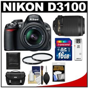 Nikon D3100 Digital SLR Camera + 18-55mm G VR DX AF-S Zoom Lens with 55-200mm VR Lens + 16GB Card + Case + Accessory Kit at Sears.com
