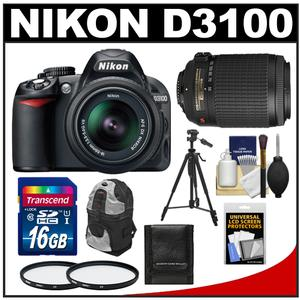 Nikon D3100 Digital SLR Camera & 18-55mm G VR DX AF-S Zoom Lens with 55-200mm VR Lens + 16GB Card + Backpack + Tripod + Accessory Kit