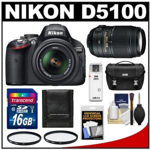 Nikon D5100 16.2 MP Digital SLR Camera & 18-55mm G VR DX AF-S Zoom Lens with 55-300mm VR Lens + 16GB Card + Case + (2) Filters + Cleaning & Accessory Kit