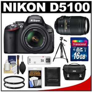 Nikon D5100 16.2 MP Digital SLR Camera & 18-55mm G VR DX AF-S Zoom Lens with 55-300mm VR Lens + 16GB Card + Case + (2) Filters + Tripod + Cleaning & Accessory Kit
