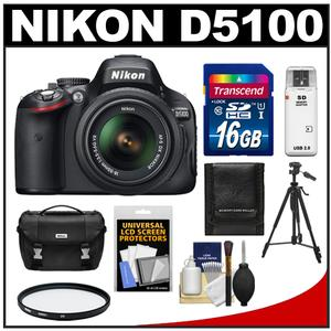 Nikon D5100 Digital SLR Camera + 18-55mm G VR DX AF-S Zoom Lens with 16GB Card + Case + Filter + Tripod + Cleaning + Accessory Kit at Sears.com