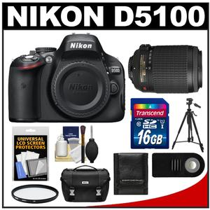 Nikon D5100 Digital SLR Camera Body with 55-200mm VR Lens + 16GB Card + Case + Filter + Remote + Tripod + Cleaning Kit at Sears.com