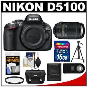 Nikon D5100 Digital SLR Camera Body with 55-300mm VR Lens + 16GB Card + Case + Filter + Remote + Tripod + Cleaning Kit at Sears.com