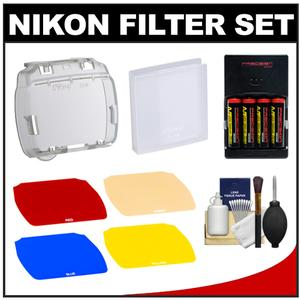 Nikon SJ-4 Speedlight Color Filter Set for SB-700 Flash with Batteries & Charger + Cleaning Kit