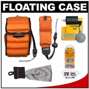 Olympus Digital Camera Floating Case (Orange/Black Trim) with Floating Strap + Accessory Kit