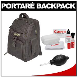 Portare Multi-Use Laptop/iPad/Digital SLR Camera Backpack Case (Black) with Canon Cleaning Kit