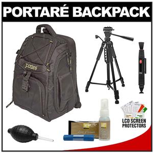 Portare Multi-Use Laptop/iPad/Digital SLR Camera Backpack Case (Black) with 57� Photo/Video Tripod + Nikon Cleaning Kit