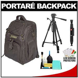 Portare Multi-Use Laptop/iPad/Digital SLR Camera Backpack Case (Black) with 57� Photo/Video Tripod + Cleaning Kit