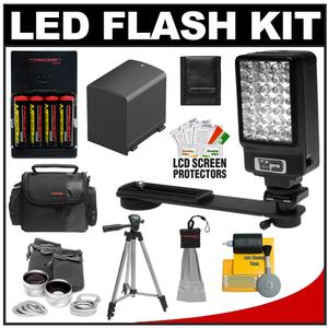 Power2000 Deluxe LED Digital Video Camcorder Light with Bracket with BP-819 Battery for Canon + Wide Angle & Telephoto Lens + Tripod + Case Kit