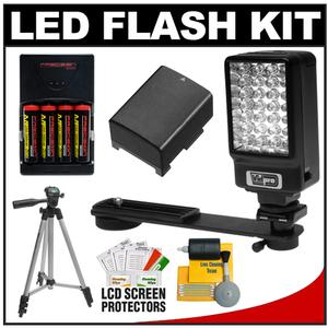 Power2000 Deluxe LED Digital Video Camcorder Light with Bracket with BP-808 Battery for Canon + Accessory Kit