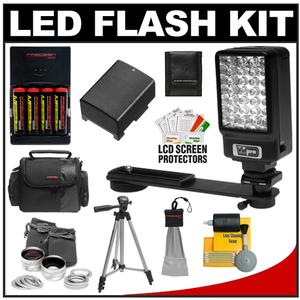 Power2000 Deluxe LED Digital Video Camcorder Light with Bracket with BP-808 Battery for Canon + Wide Angle & Telephoto Lens + Tripod + Case Kit